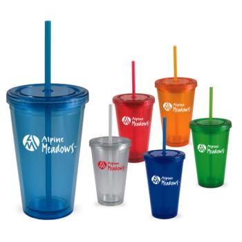 3340 - 16 oz. Double Wall Tumbler with Straw